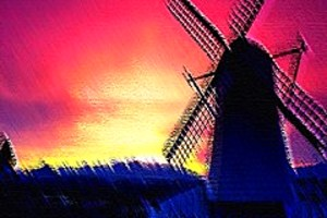 210467 windmill at sunset