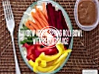 438434 rainbow veggie spring roll bowl with peanut sauce unknown